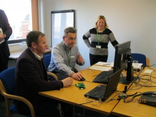 George Eustice at Exeter support centre