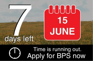 Image showing 7 days left to apply for the Basic Payment Scheme - the deadline is 15 June