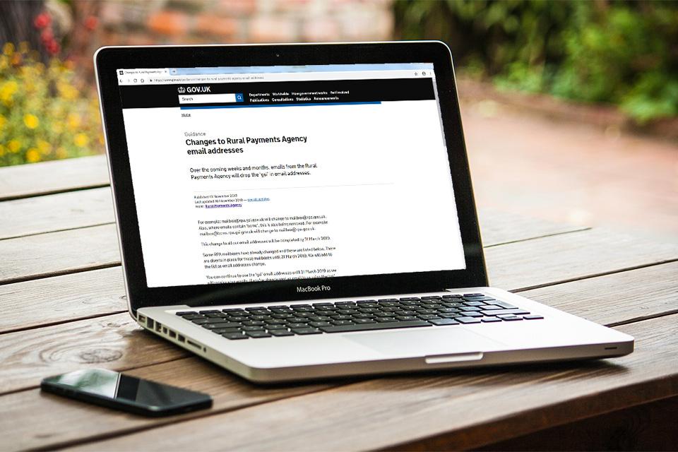 An open laptop showing the GOV.UK website